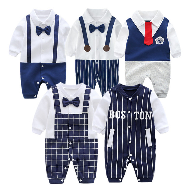 7fa770c833a1 Autumn Spring Gentleman Baby Rompers Infant Jumpsuits Boy Clothing Set Cotton  Newborn Baby Girl Clothes Toddler Kids Boy Rompers