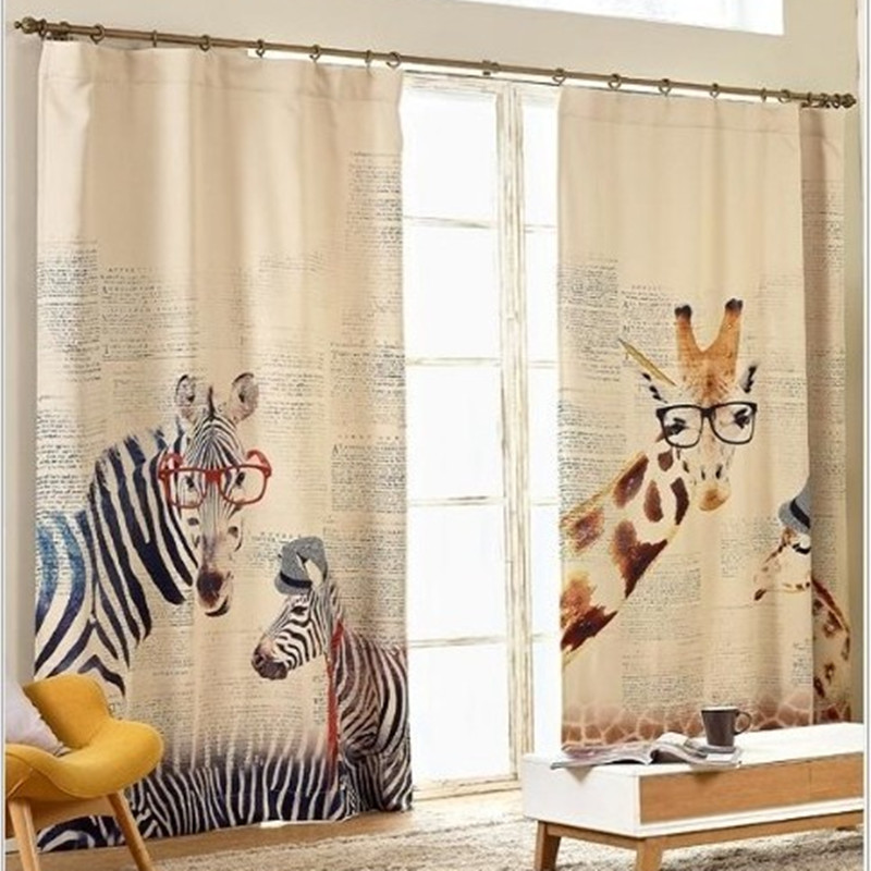 Curtains for living room zebra giraffe childenr linen - Childrens bedroom blackout curtains ...