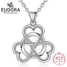 EUDORA 925 Sterling Silver Clover Necklace 3 Leaf Traditional Shamrock for Faith Hope and Love CYD044