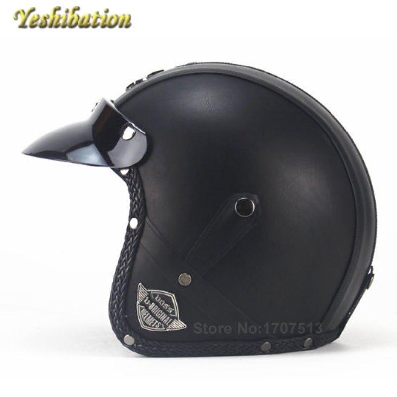 Casque de moto Yeshibation casque Vintage Harley sans masque de lunettes