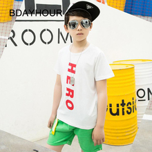 Letter Printing HERO Short-Sleeved Round Neck Hip-Hop Boys T-Shirts Summer New 2017 Sports Juvenile Loose T-Shirts