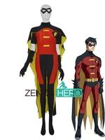 Comics Strong Mens' Robin Superhero Costume 2019 Custom Made Red Robin Cosplay Costume Halloween Spandex Bodysuits With Cape