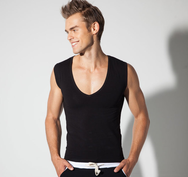 3a110aa93a9ef5 Free Shipping New Men s Tank Tops Cotton Vest Fashion Slim Deep V-neck  Casual Undershirts 3 Colors