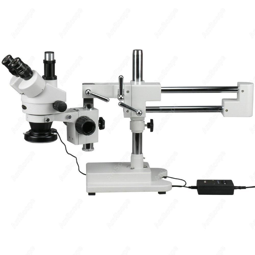Trinocular Stereo Microscope AmScope Supplies 3 5X 90X Trinocular Stereo Microscope with 144 LED Ring Light