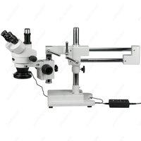 Trinocular Stereo Microscope AmScope Supplies 3.5X 90X Trinocular Stereo Microscope with 144 LED Ring Light