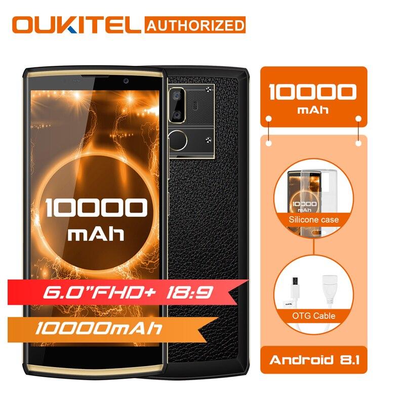 Oukitel K7 6.0 18:9 Affichage Mobile Téléphone Android 8.1 4G RAM 64G ROM 10000 mAh Charge Rapide MTK6750T D'empreintes Digitales Double Arrière Caméra
