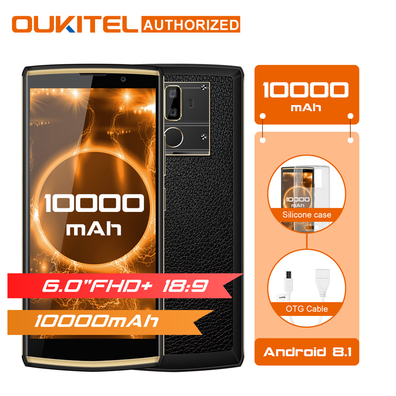 Oukitel K7 6.0″ 18:9 Display Mobile Phone Android 8.1 4G RAM 64G ROM 10000mAh Quick Charge MTK6750T Fingerprint Dual Rear Camera