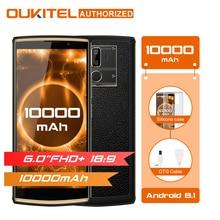 Oukitel K7 6,0 «18:9 Дисплей мобильного телефона Android 8,1 4G Оперативная память 64G Встроенная память 10000 mAh Quick Charge MTK6750T отпечатков пальцев двойной сзади Камера