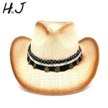 Для женщин Для мужчин соломы западная ковбойская шляпа с западными полосы для элегантных леди сомбреро Hombre пастушка Джаз шапки Размеры 58 см