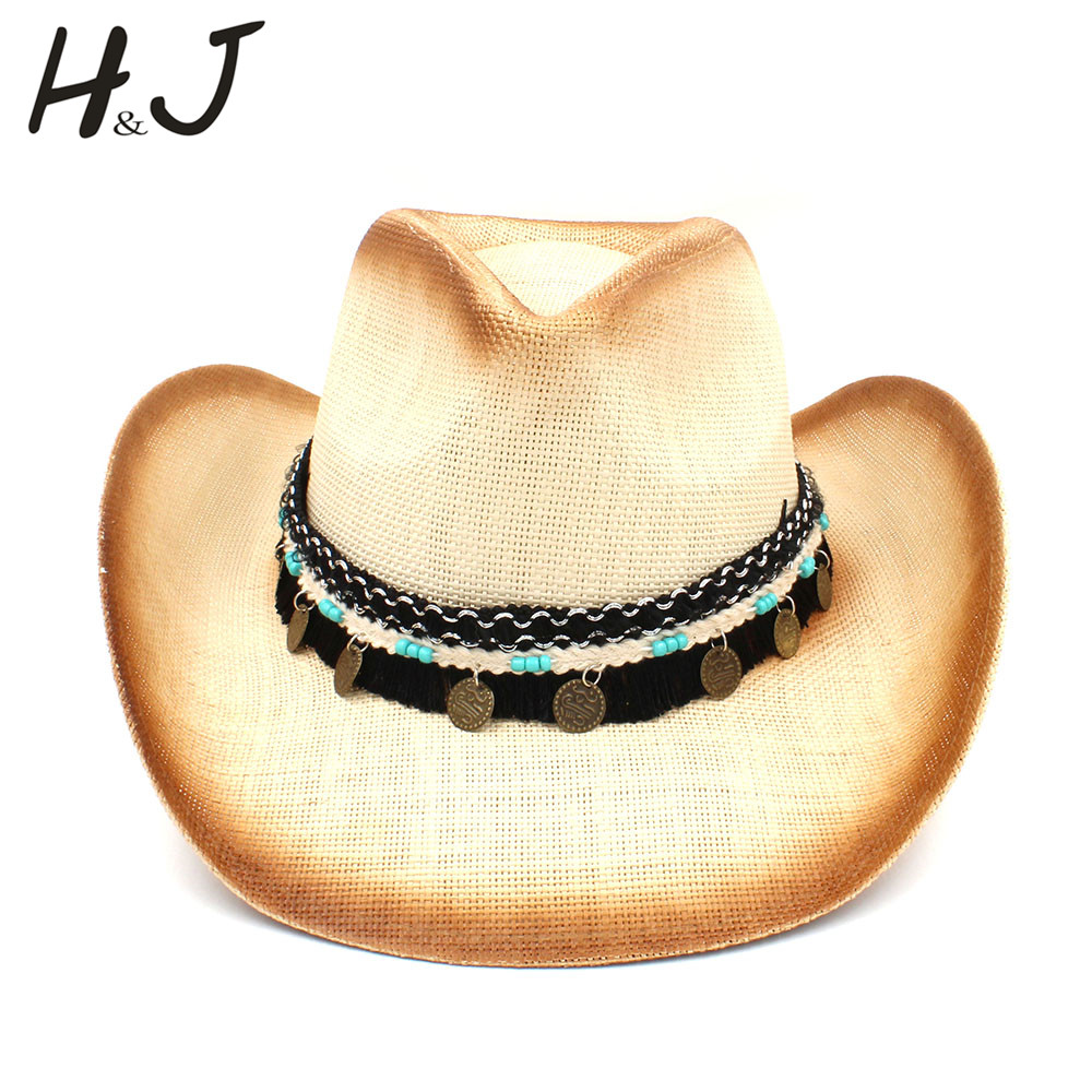 Women Men Straw Western Cowboy Hat With Western Band For Elegant Lady Sombrero Hombre Cowgirl Jazz Caps Size 58CM