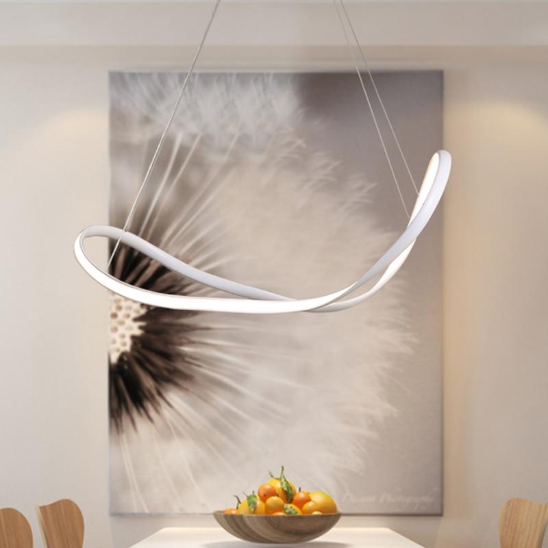 Best Hot Dimmable WhiteBlack Modern LED Pendant Lights for Dining Room Living Room Bar Hanging 110V 220V Pendant Lamp Witeh RC