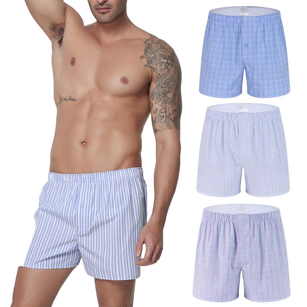Men Underwear Boxers Plaid Loose Shorts Men Panties Cotton Soft Large Arrow Pants At Home Underwear Classic Basics Men Pajamas