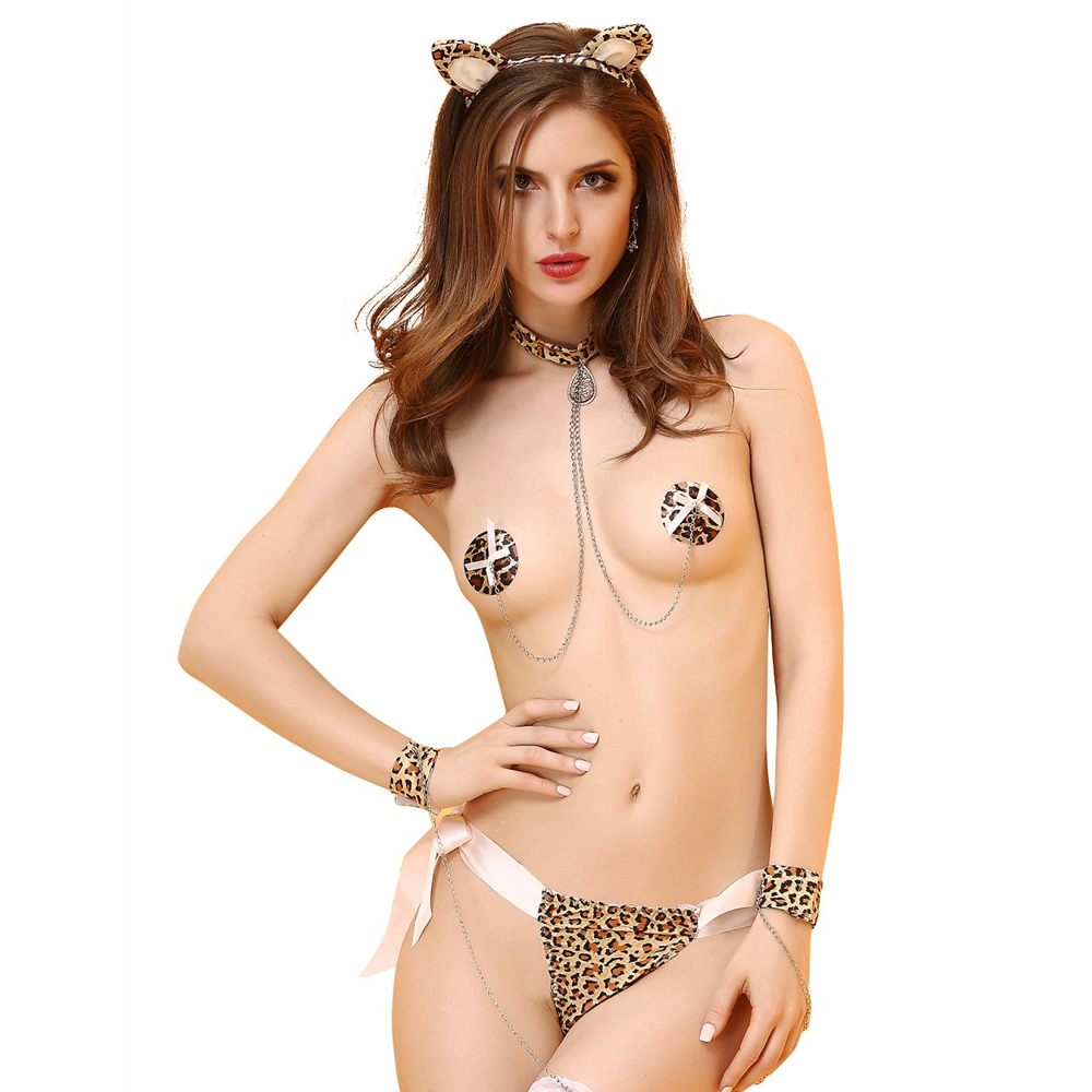 Sexy Catwoman Costume Woman 3-point Sexy Lingerie Set Girls Leopard Sexy Underwear