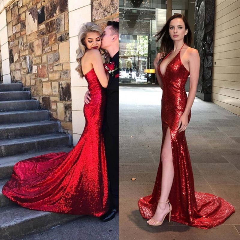 Abendkleider Lang Red Sequin Mermaid   Evening     Dresses   2019 Side Split Open Back Prom   Dress   Girls Formal Pageant Gowns For Party