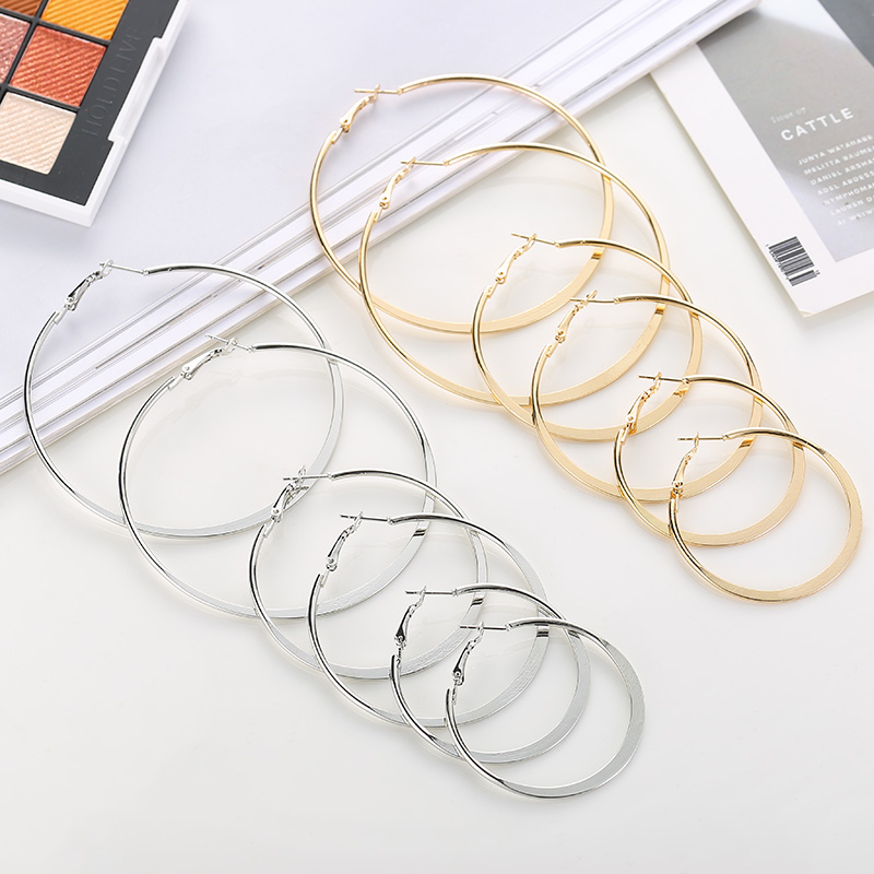 Fashion Simple Round Gold Hoop Earrings For Women Party Jewelry Female Silver Metal Large Circle Earring Punk Style Brincos Gift