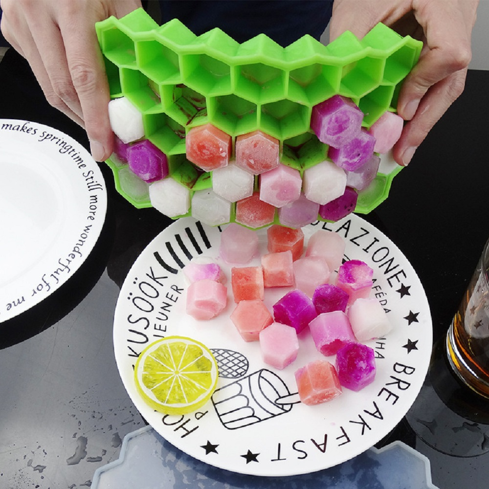 Image 5 - BPA Free Honeycomb Ice Cube Tray 37 Cubes Silicone Ice Cube Maker Mold With Lids For Ice Cream Party Whiskey Cocktail Cold Drink-in Ice Cream Makers from Home & Garden
