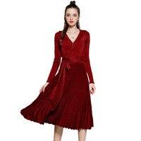 Autumn Dress Sexy V Neck Long Sleeve Knee Length Shinny Women Dress Solid Fit Vintage Vestido