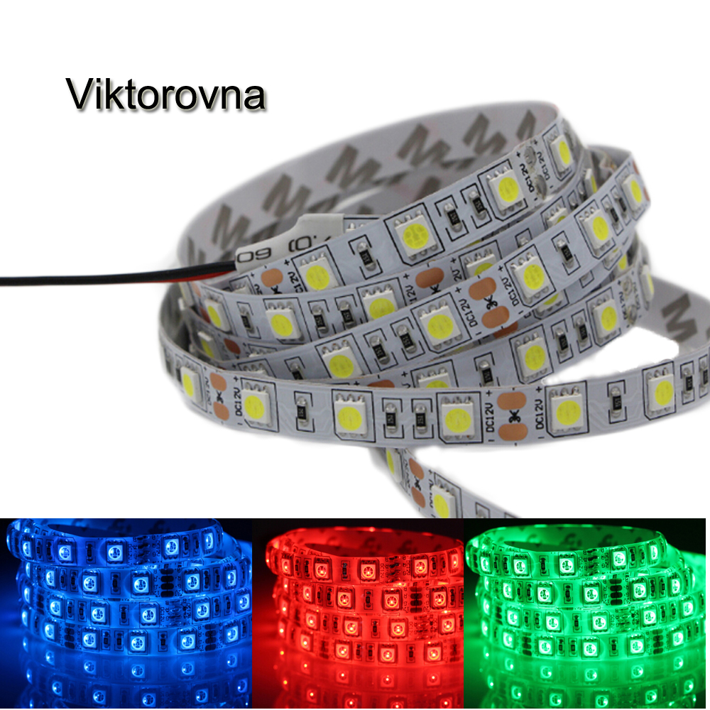1-5M Super Bright 5050 SMD RGB Led Strip Light 60Leds/M DC 12V Led Tape Flexible Light non/Ip65 Waterproof Home String Ribbon подсвечник stilars подсвечник page 2
