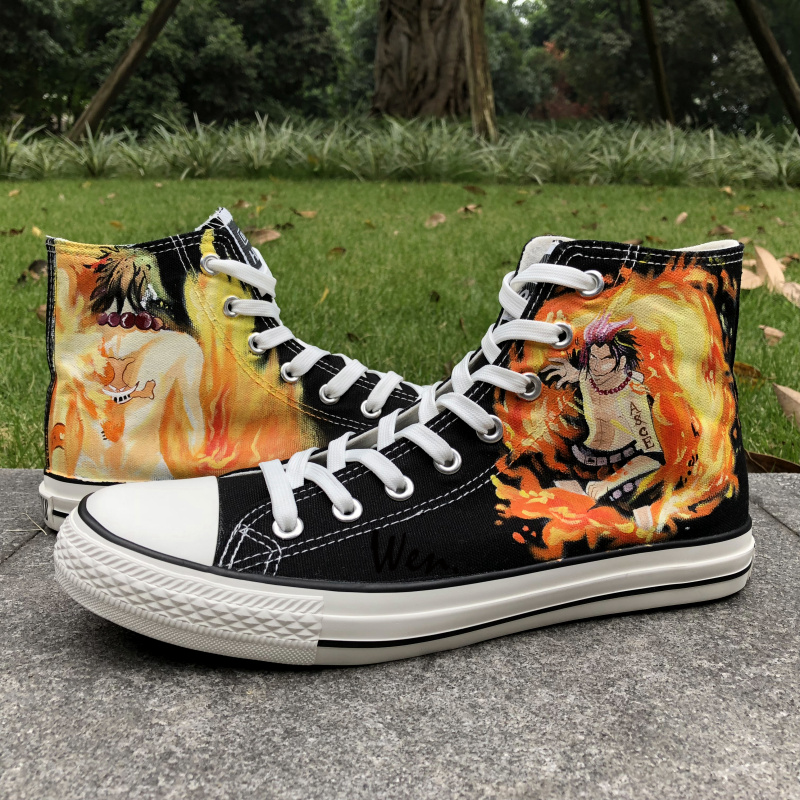 Wen Anime Black Hand Painted Shoes Design Custom One Piece Ace Men Women's High Top Canvas Sneakers Gifts for Man Boys wen design custom blue hand painted shoes scott pilgrim high top woman man s canvas sneakers for birthday gifts