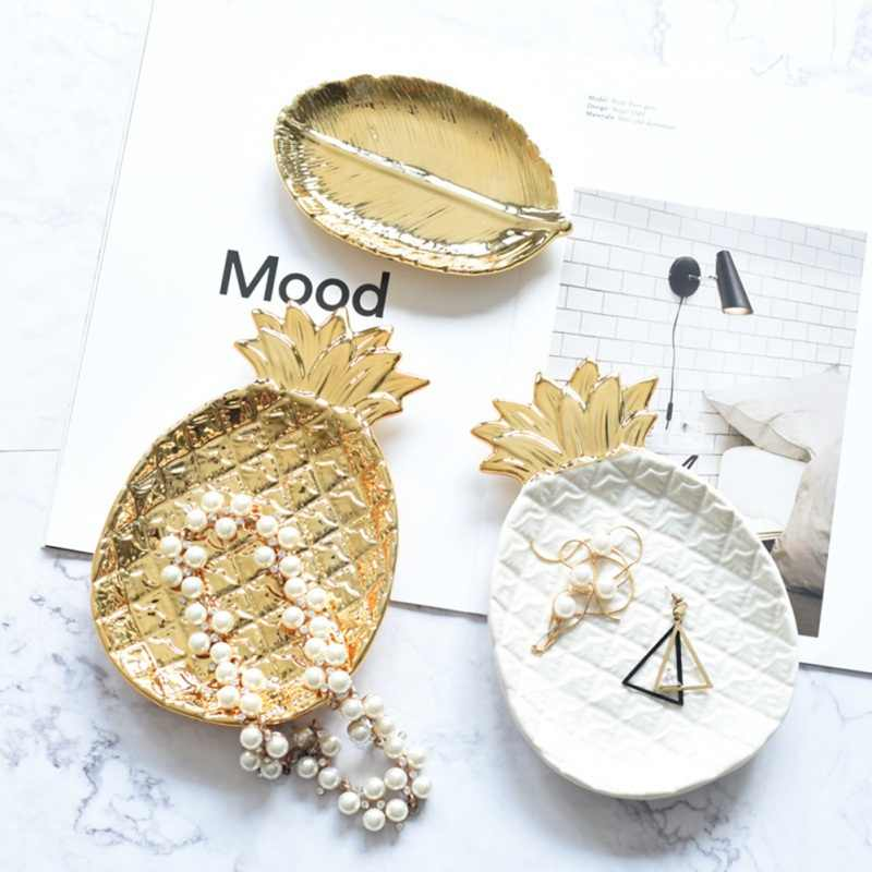 Nordic Gold Accessori Per la Cucina Cucina Piatto di Ceramica del Regalo Dei Monili Ananas Gingillo Bagno Decorazione Vassoio Organizzatore Vanità