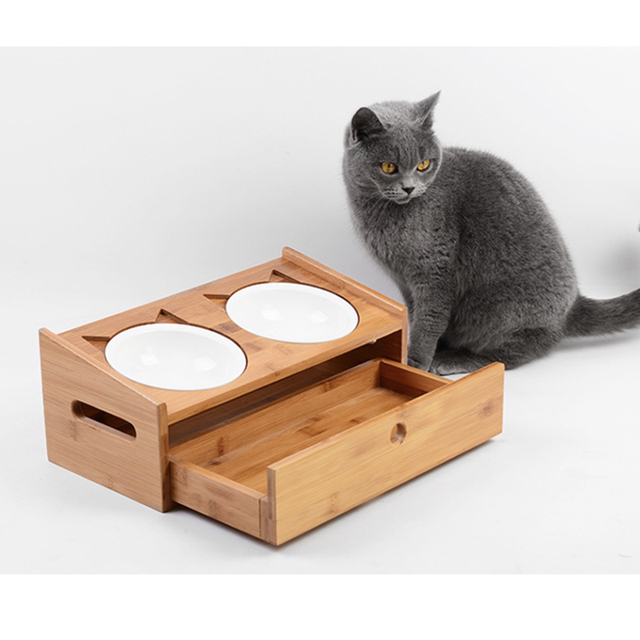 Bamboo Elevated Cat Dog Bowl Standing Ceramic Bowls Small Puppy Dogs Drinking Water Food Raised