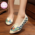Kingfisher Exquisite Embroidery Elegant Woman Pointed Sequins Cow Muscle Old Beijing Canvas Shoes Women Shoes