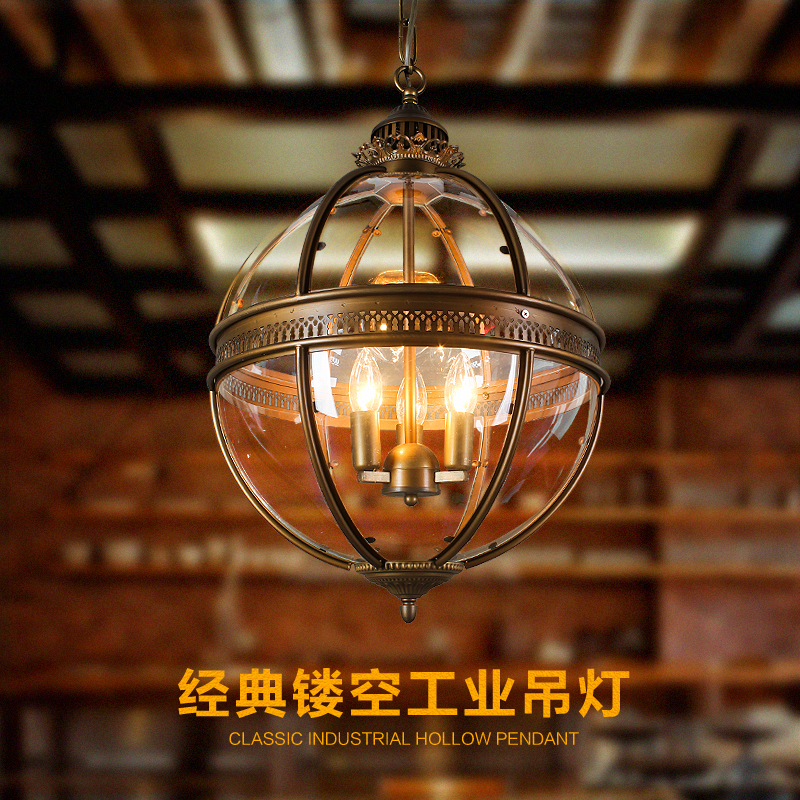 Vintage Globe Chandeliers 3 Lights E12 E14 Transpa Glass Metal Painting Loft For Living Dinning Room In From Lighting