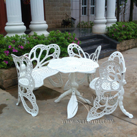4 Piece Butterfly Cast Aluminum Dining Chair And Table Patio Furniture Garden Furniture Outdoor Furniture