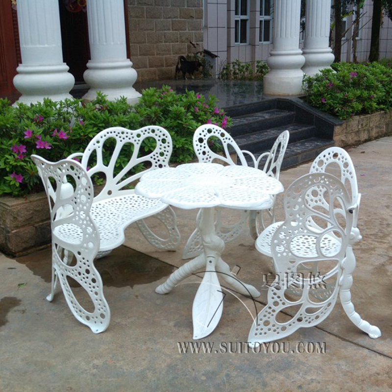 4 Piece Butterfly Cast Aluminum Dining Chair And Table