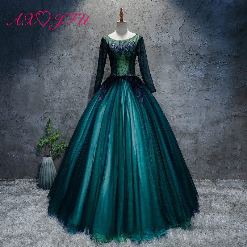AXJFU princess green lace flower   evening     dress   luxury vintage beading crystal flower o neck long sleeves green   evening     dress