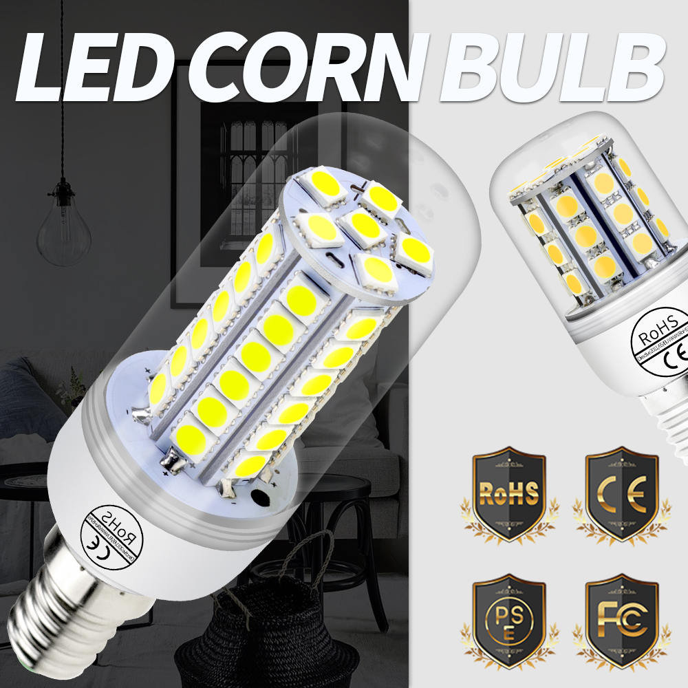5050 SMD LED Light Bulb E27 Led 220V E14 Corn Lamp 24 30 36 48leds Chandelier Energy Saving LED Bulbs 360 Beam Angle Warm/White e27 led 4 5w 36 smd 5730 warm white white cover corn light lamp led bulb ac 220v