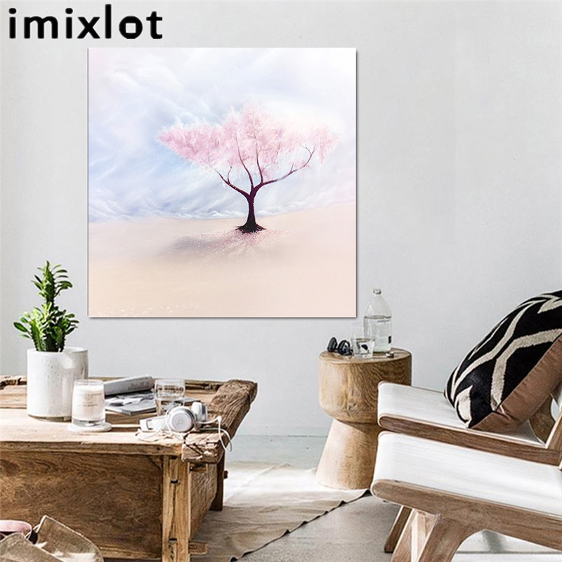 Imixlot Oil Painting Cherry Tree Pink Flower Canvas Cloth