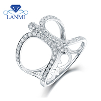 New Real 14K White Gold Round Diamond Wedding Ring Luxury Design For Wife Birthday Loving Gift