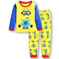 Moda para niños ropa niños trajes de dos piezas de algodón ropa de los niños minion ropa set
