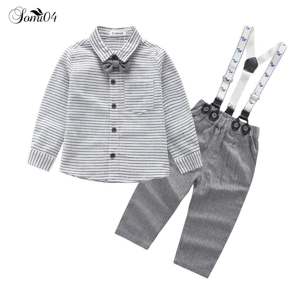 Newborn Baby Boys Formal Clothes Tie Sets 2018 Children Spring Autumn Striped Shirts Overall Pants Gentleman Kids Birthday Suits