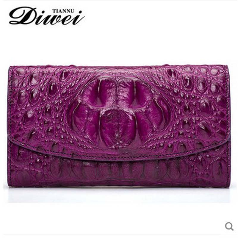 Diwei 2018 new hot freeshippiing thai crocodile women bag imported crocodile leather wallet long women wallet women clutches yuanyu new crocodile wallet alligatorreal leather women bag real crocodile leather women purse women clutches