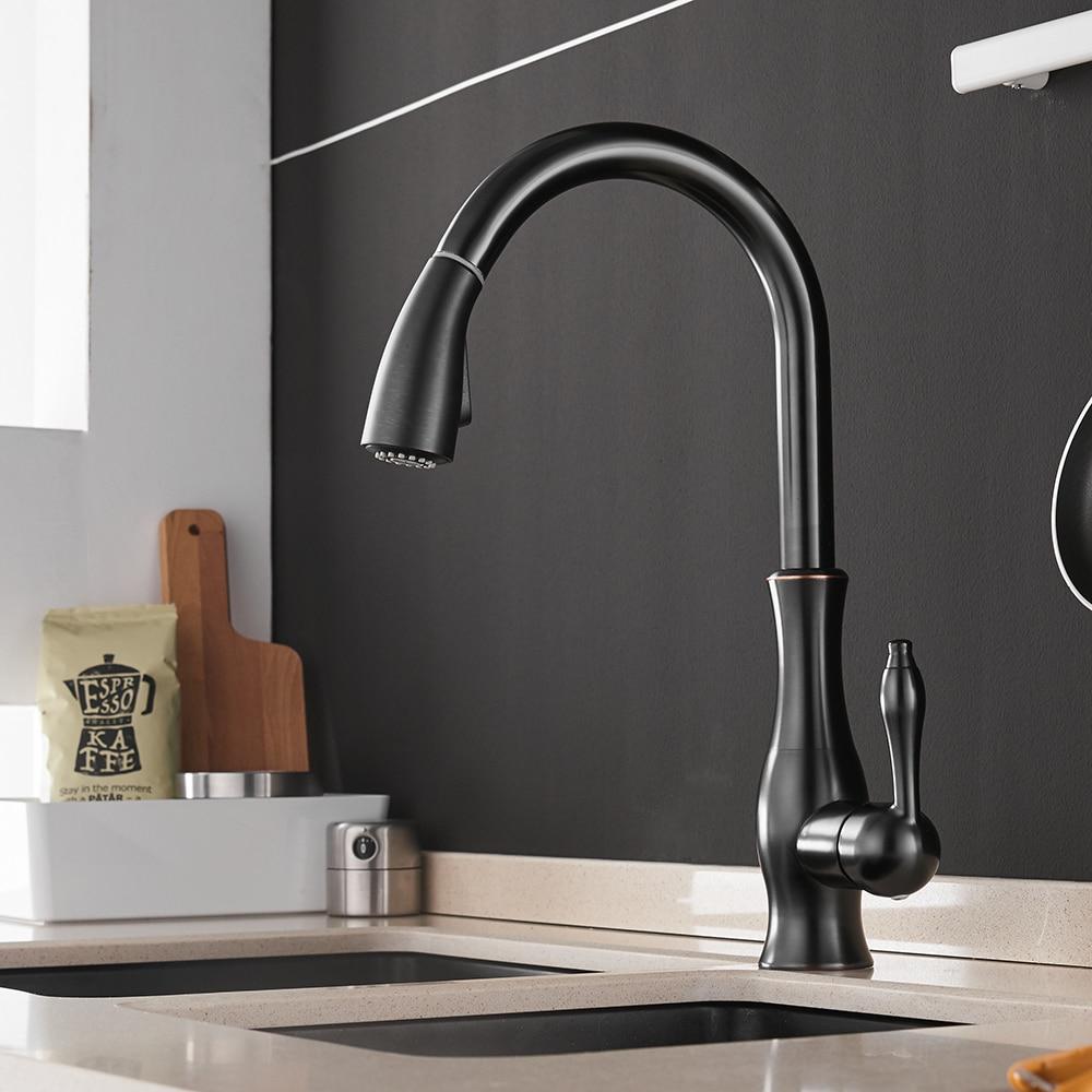 Robinets de cuisine argent poignée unique tirer robinet de cuisine unique trou poignée pivotant 360 degrés mélangeur d'eau robinet mélangeur 866011 - 3