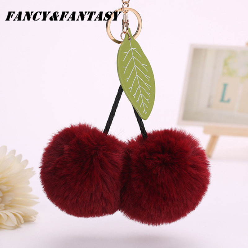 Fancy&Fantasy Rabbit Fur 8cm Leaves Ball Keychain Cherry <font><b>Pom</b></font> <font><b>Pom</b></font> Fluffy Key Chains Pompom Car <font><b>Keyring</b></font> Women Bag Pendant Porte image
