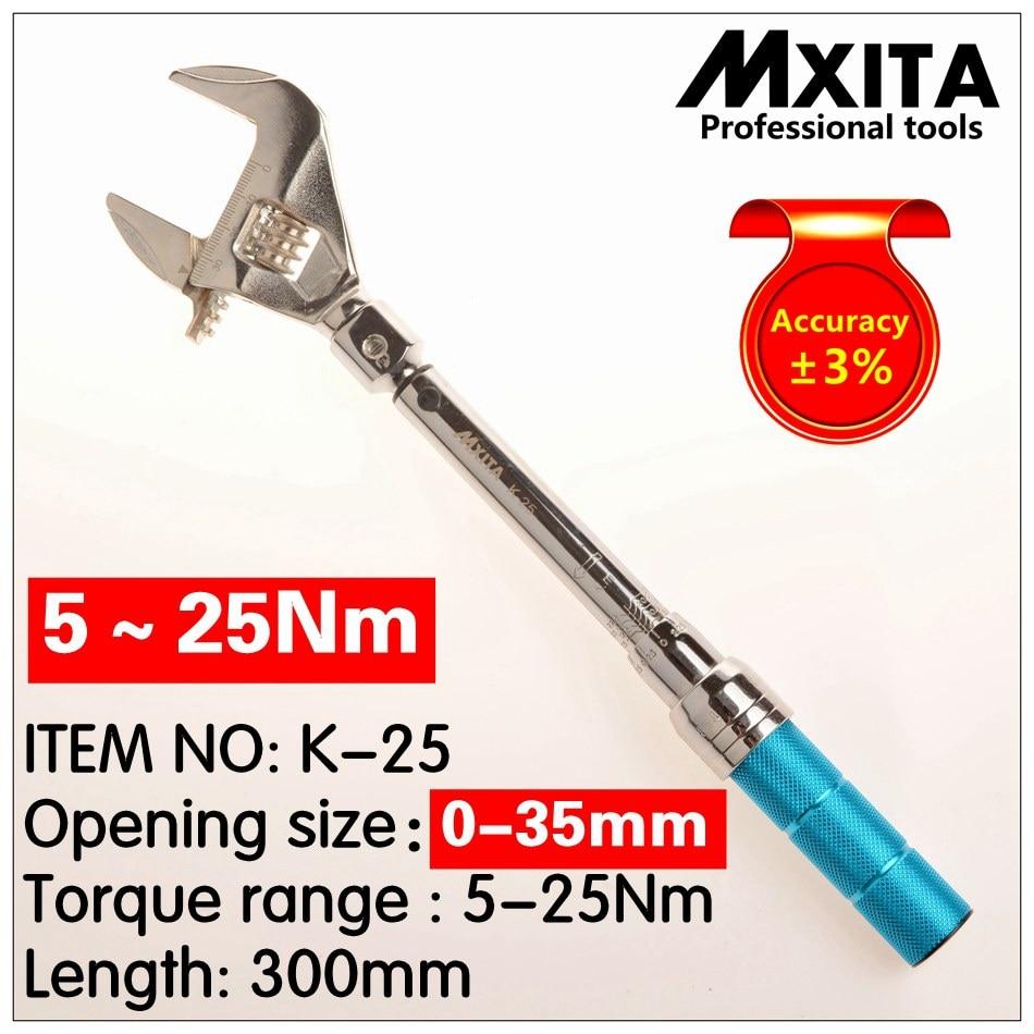 MXITA OUVERT clé Réglable Clé Dynamométrique 5-25Nm Interchangeables précision 3% Main Clé Insérer Terminé tête Clé Dynamométrique