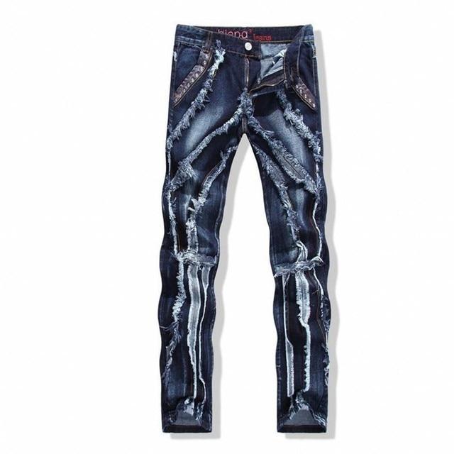 Herren Skinny Jeans Paris Runway Distressed Dünne Elastische Jeans Denim  Biker Zerrissenen Jeans Hip Hop Hosen e99b348203