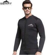 SBART 3MM Neoprene Long Sleeved Jumpsuit For Men Wetsuit Scuba Dive Jacket Wet Suit Top Winter Swim Warm Surf