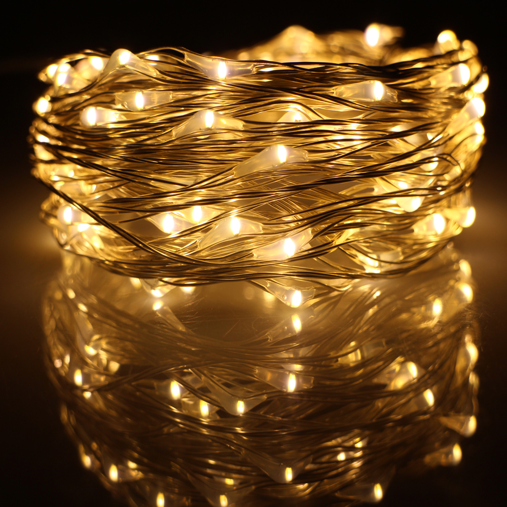 10M 33FT 100 led USB-ledare Silver Wire String Lights Dekor Julfestival Bröllopsfest Garland Fairy Lights