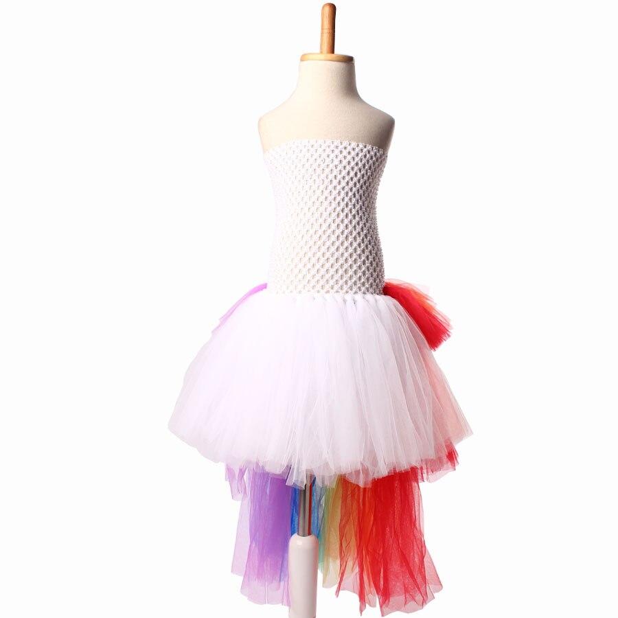 afa892a6c Bright Rainbow Unicorn Bustle Tutu Dress Girls Pony Dress with Colorful  Mane Children Birthday Halloween Costume Holiday Dress-in Dresses from  Mother & Kids ...