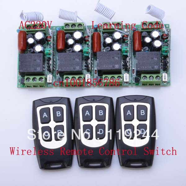 220V 1CH 10A Wireless Remote Control Power Switch System ;4 Receivers(Mini size)+3Transmitter(Waterproof) RF For Home Smart