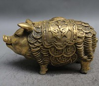 6 China Brass Fengshui Stand Zodiac Year Pig Money Coin Wealth Lucky Statue