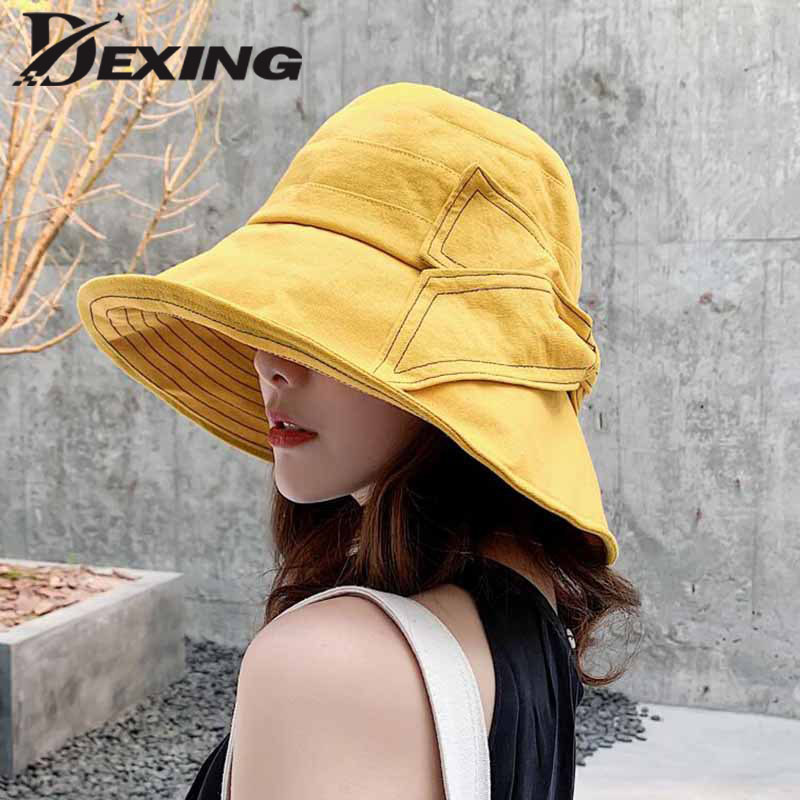 d4833fcf98b3e1 2019 Anti-UV Wide Brim Chic Cotton Linen Summer Hat for Women Vacation  Foldable Beach