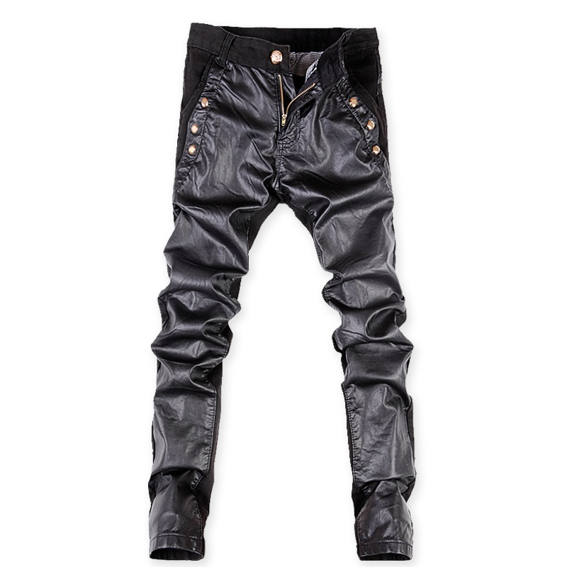 2016 famous brand cotton&PU Spliced pants men, casual mens pants ,black pants men