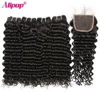 Deep Wave 4 Bundles With Closure Brazilian Hair Weave Bundles 100 Human Hair Bundles With Closure