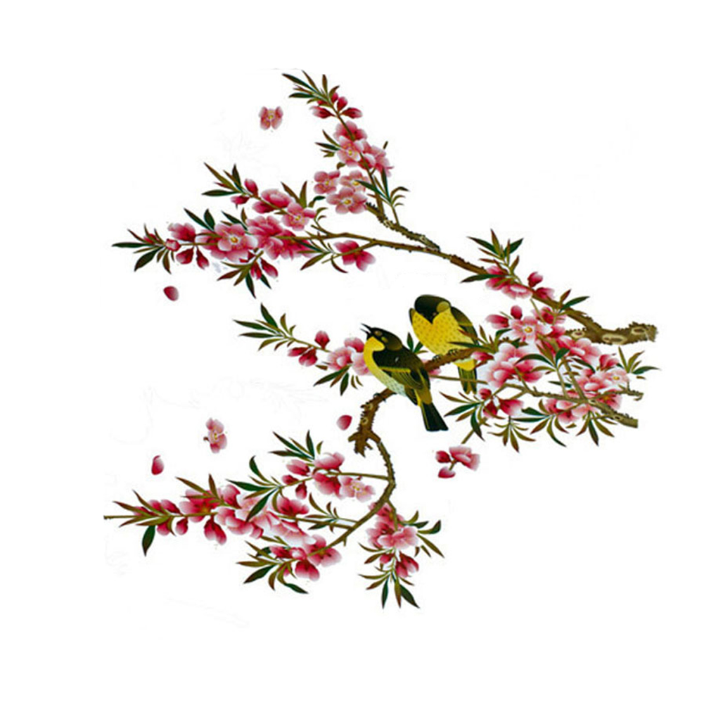 Elegant Flower Wall Stickers Graceful Plum Blossom birds Wall Stickers Furnishings Romantic Living Room Decoration
