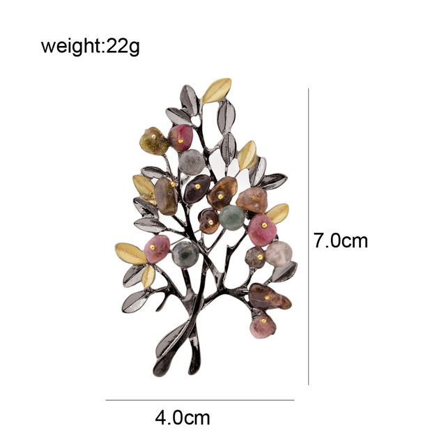Vintage Stone Tree Brooches for Women Large Elegant Suit Dress Brooch Pin Fashion Jewelry Party Accessories Gift